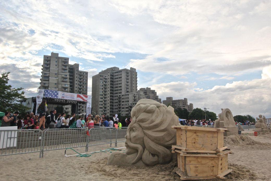 boston revere beach sand sculpture festival woman sculpture