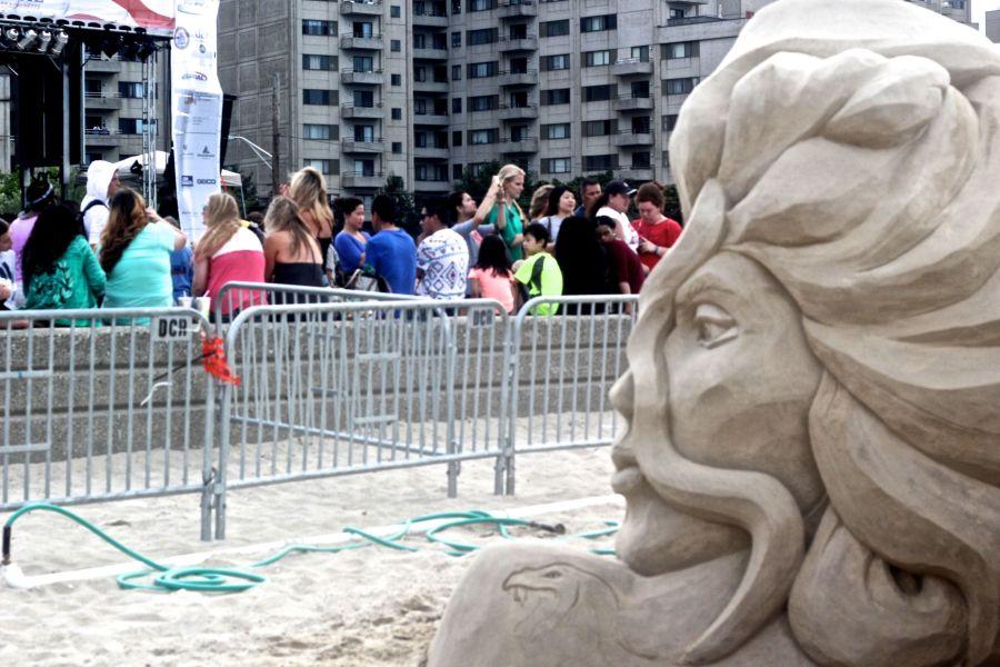boston revere beach sand sculpture festival woman's face sculpture