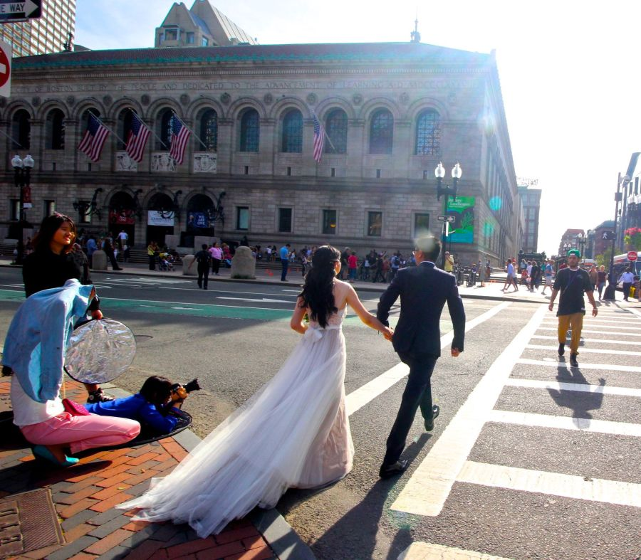 boston copley library wedding couple crossing street