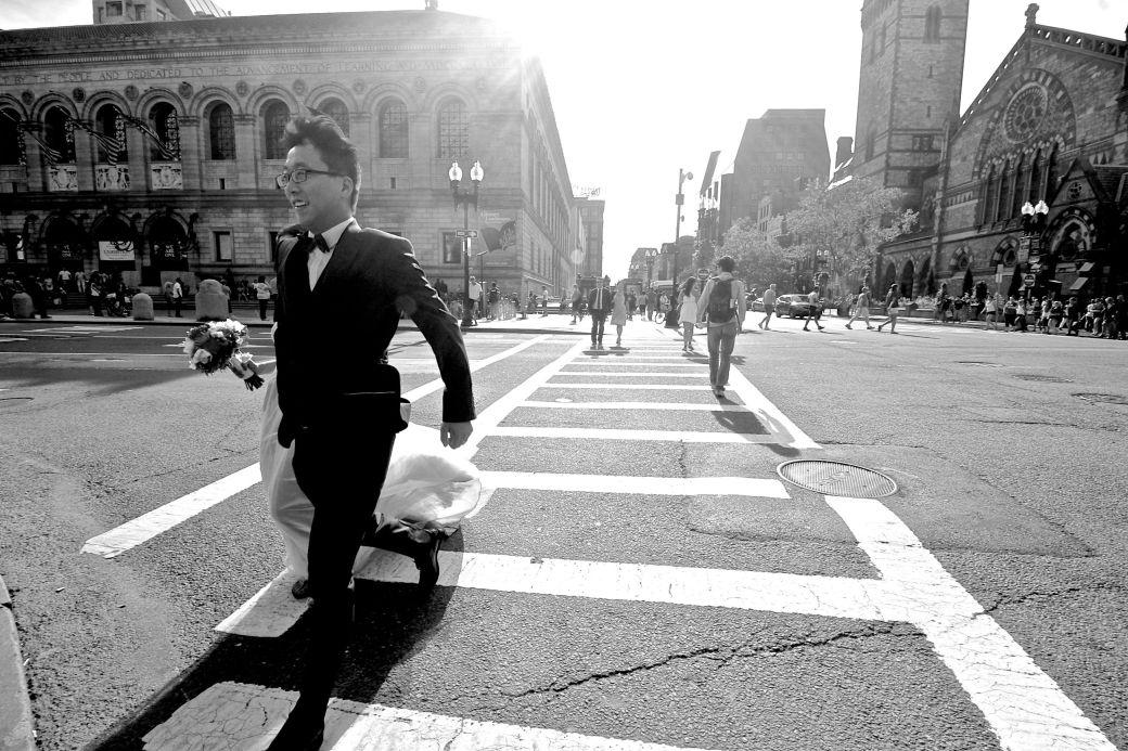 boston copley square bride and groom crossing street