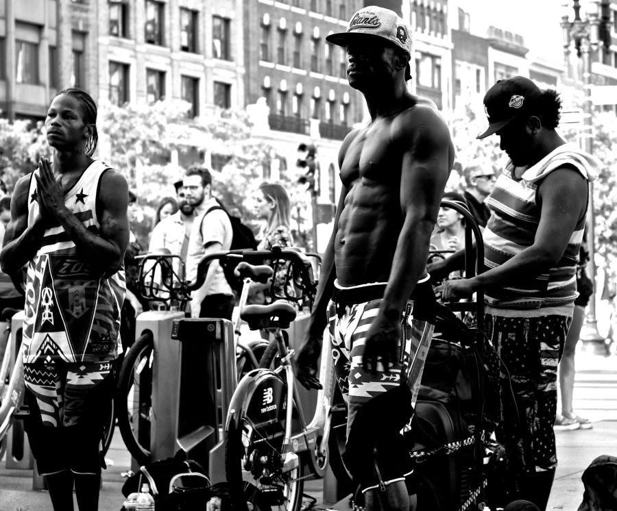 boston copley square street perfomers 3 black white