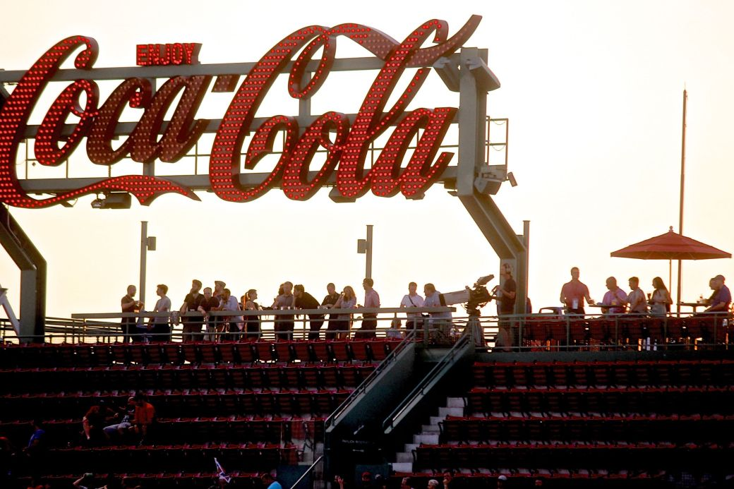 boston fenway park coca cola sign sunset