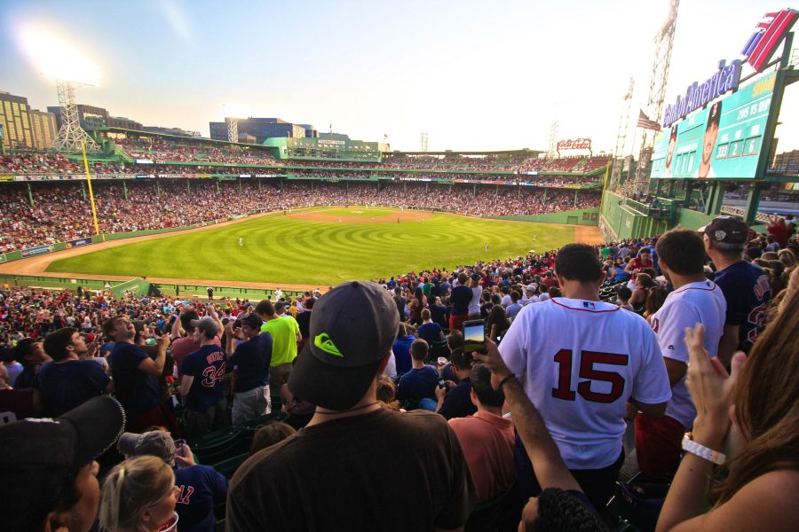 boston fenway park field view sunset