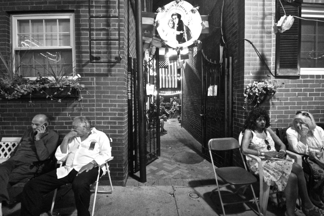 boston north end festival people sitting on the sides