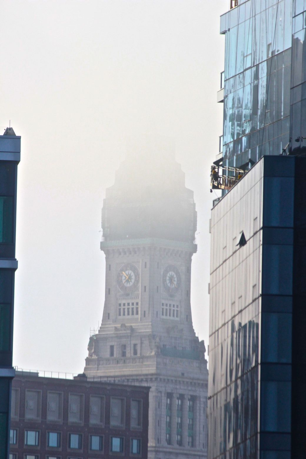 boston seaport district customs house tower fog