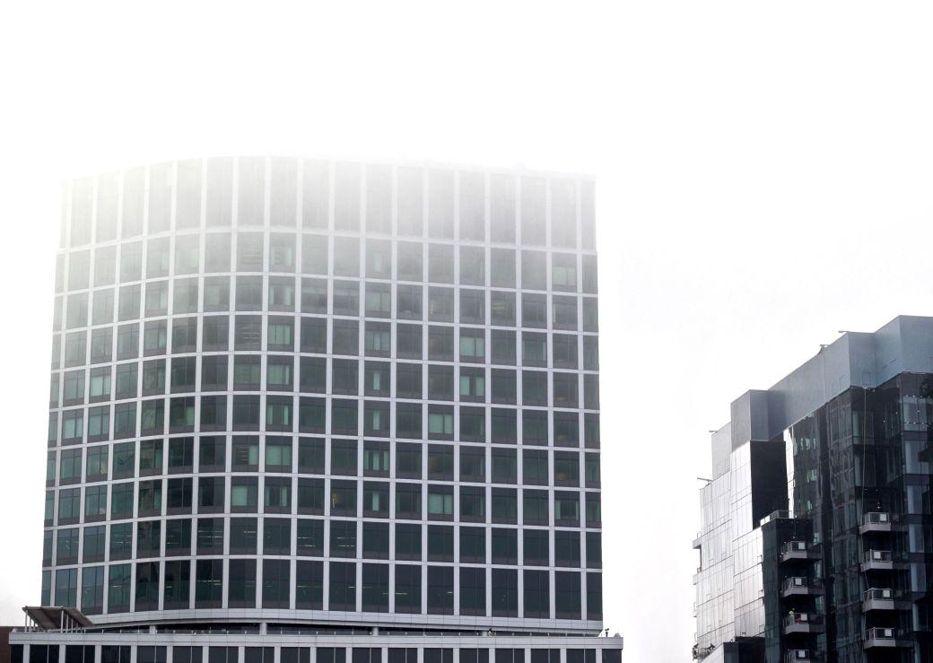 boston seaport district fog building