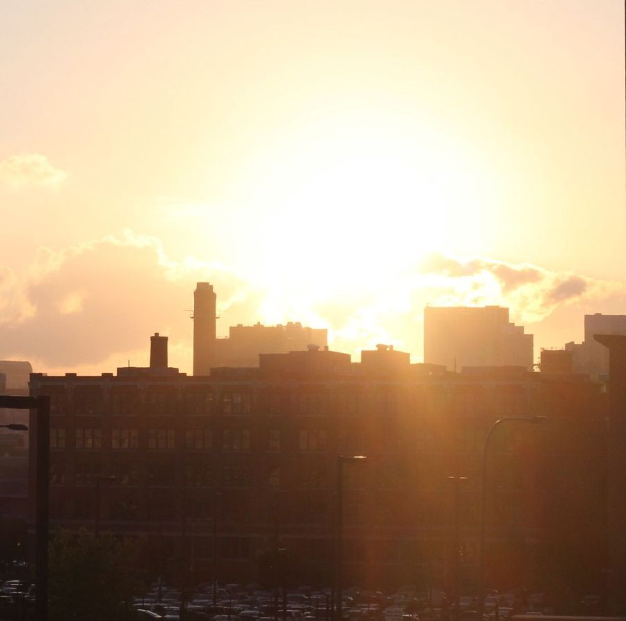 boston seaport district skyline sunset 4