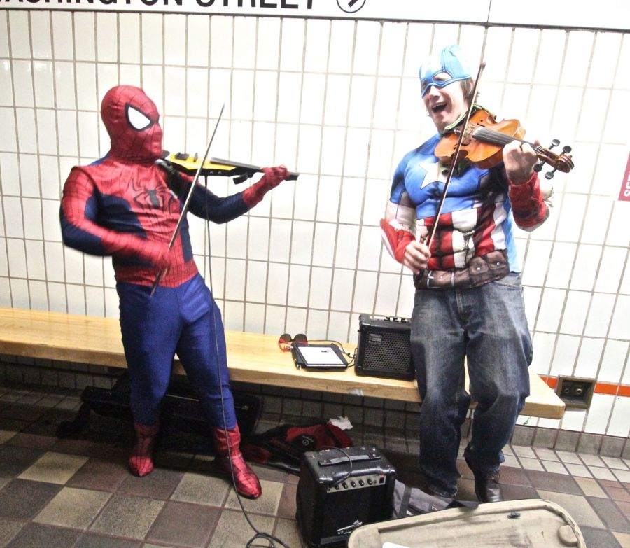 boston downtown crossing men dressed as spiderman and captain American playing violins 2