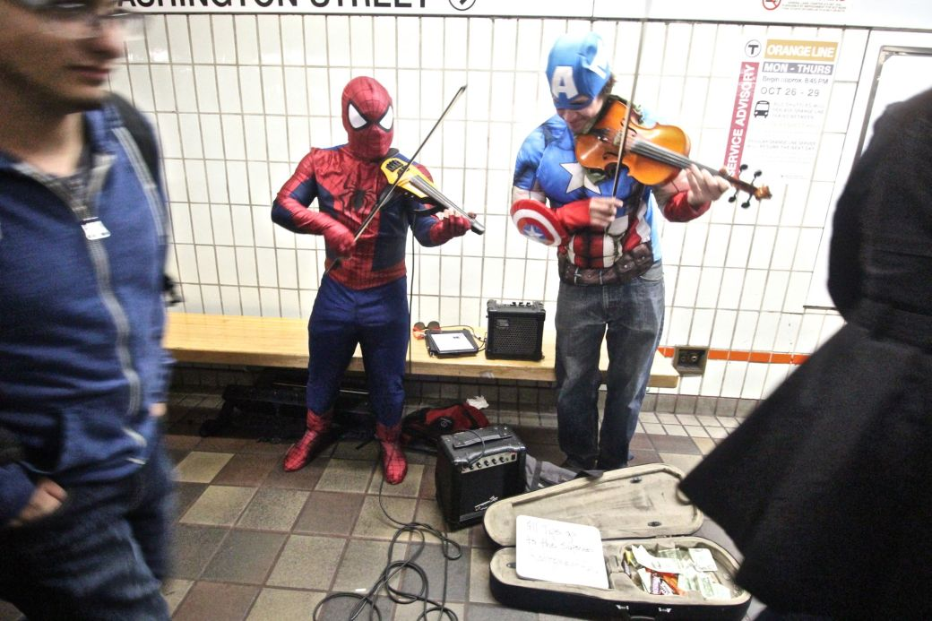 boston downtown crossing men playing violins dressed as batman and captain America