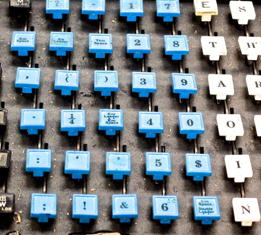 boston globe office linotype machine