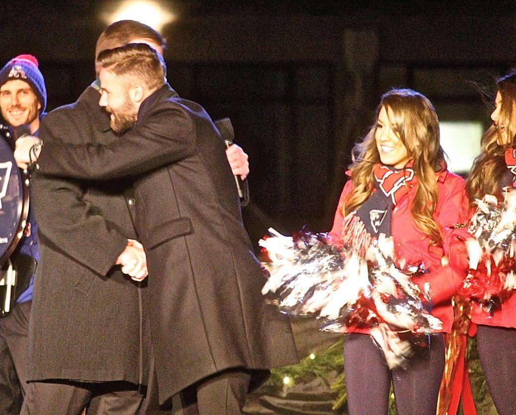 boston common christmas tree lighting december 3 2015 marty walsh hugging julian edelman