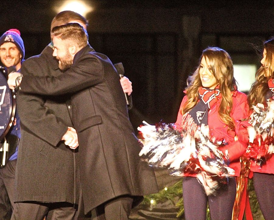 boston common christmas tree lighting december 3 2015 marty walsh hugging julian edelman