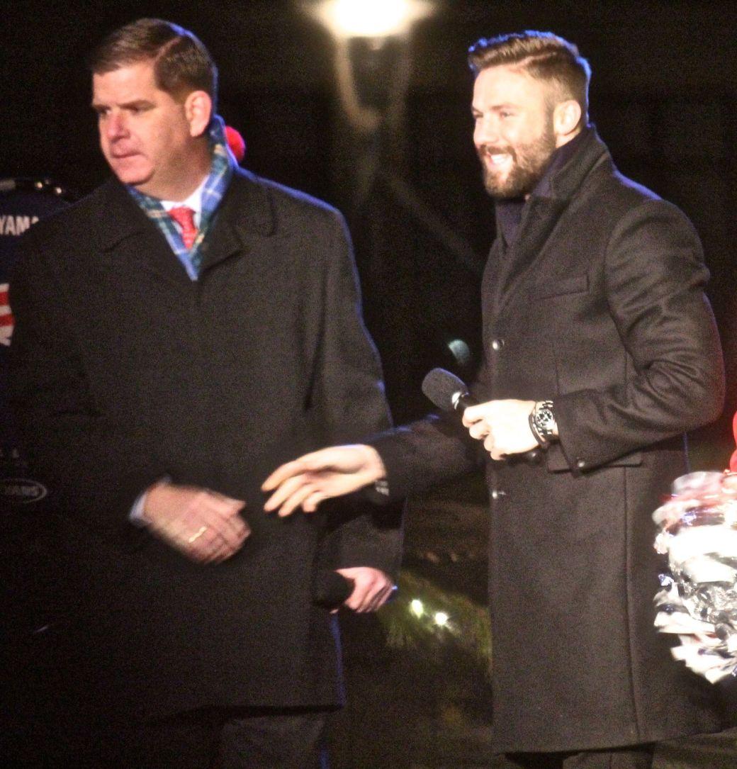 boston common christmas tree lighting december 3 2015 marty walsh julian edelman