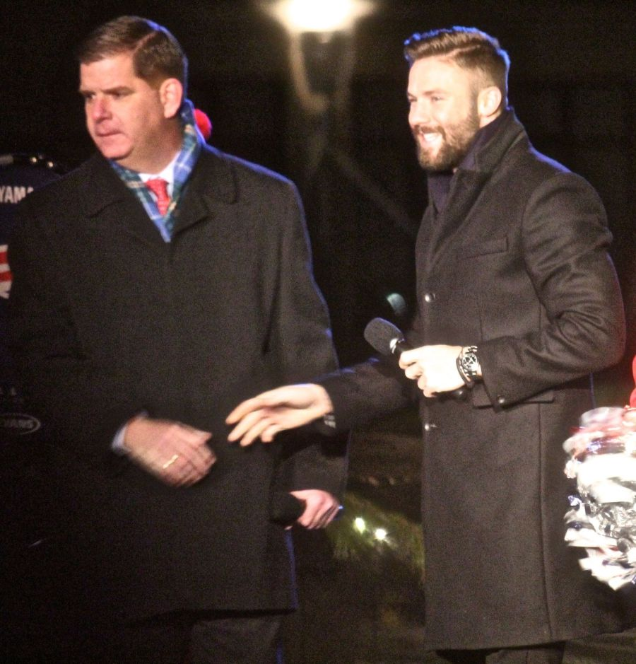 boston common christmas tree lighting december 3 2015 marty walsh julian edelman