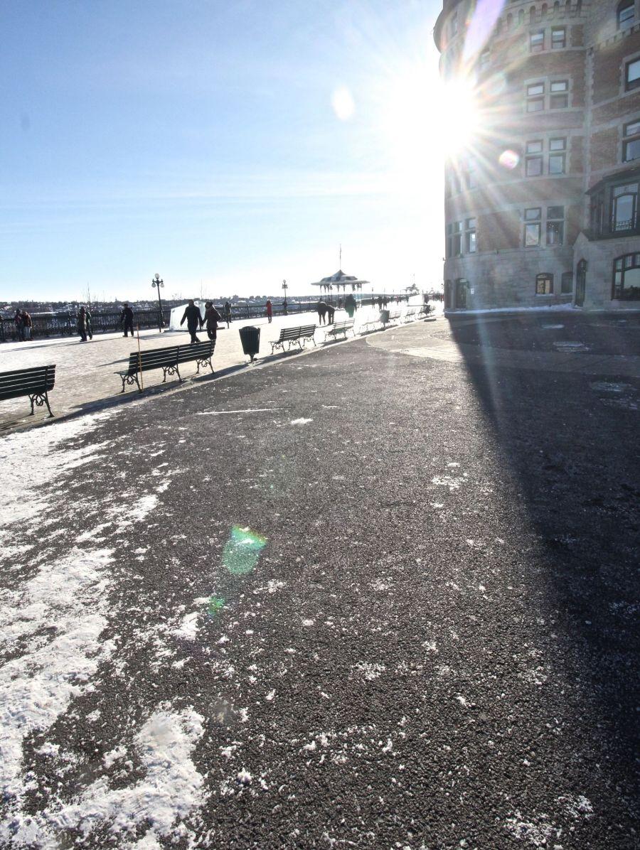 quebec quebec city chateau frontenac boardwalk light