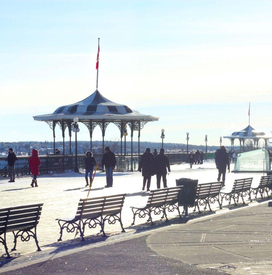 quebec quebec city chateau frontenac boardwalk sunlight