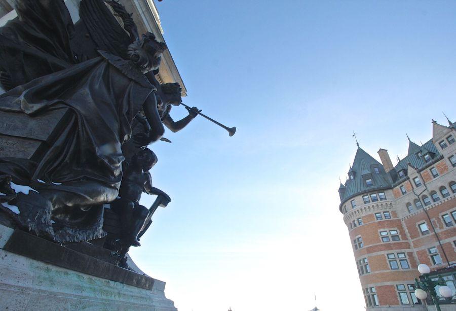 quebec quebec city chateau frontenac statue angel