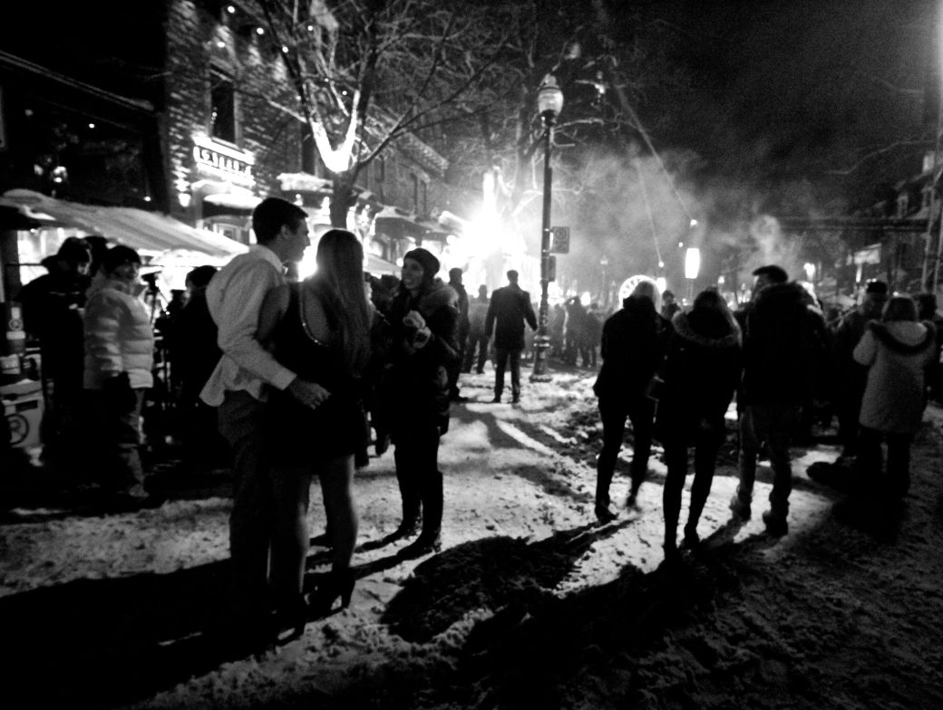 quebec city new years celebration december 31 2015 couple black white 2