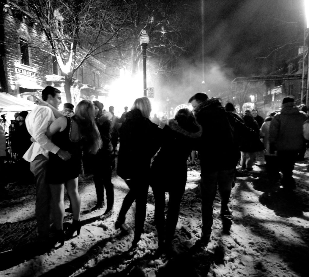 quebec city new years celebration december 31 2015 couple black white