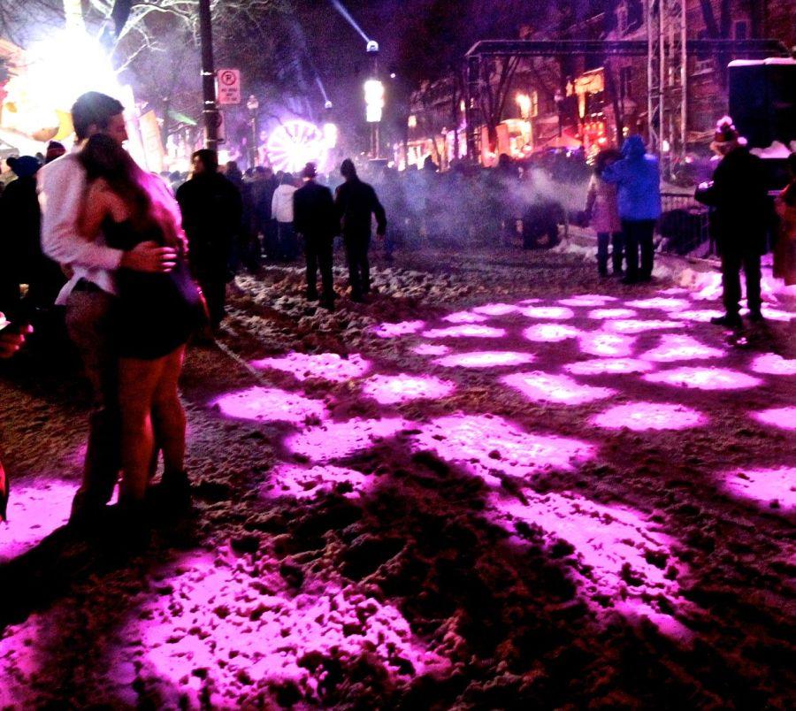 quebec city new years celebration december 31 2015 couple purple light