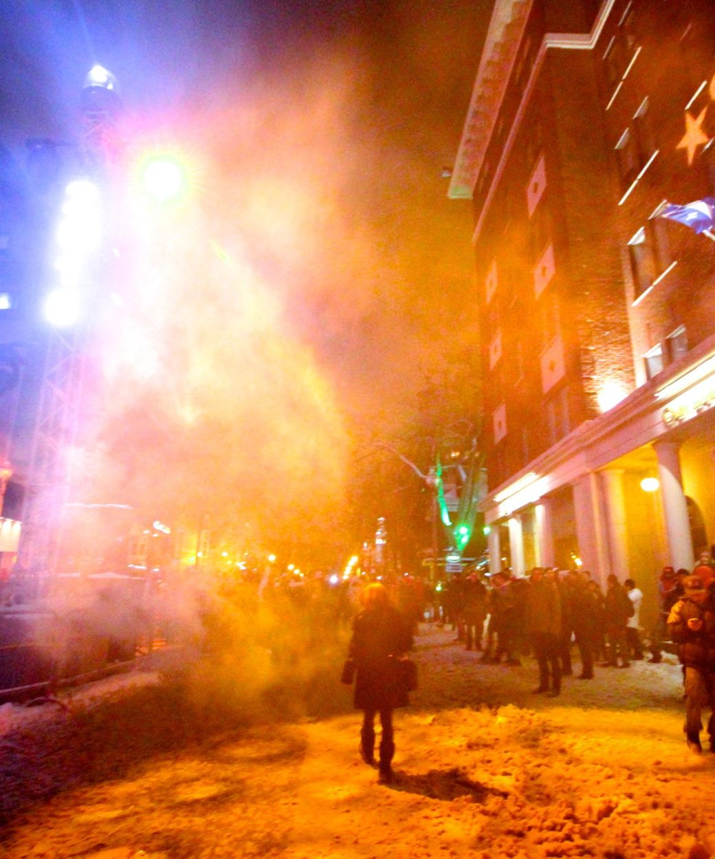 quebec city new years celebration december 31 2015 people after the fireworks