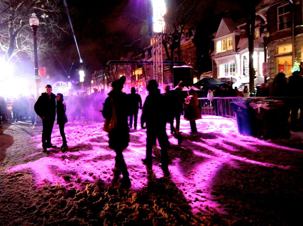 quebec city new years celebration december 31 2015 people purple light