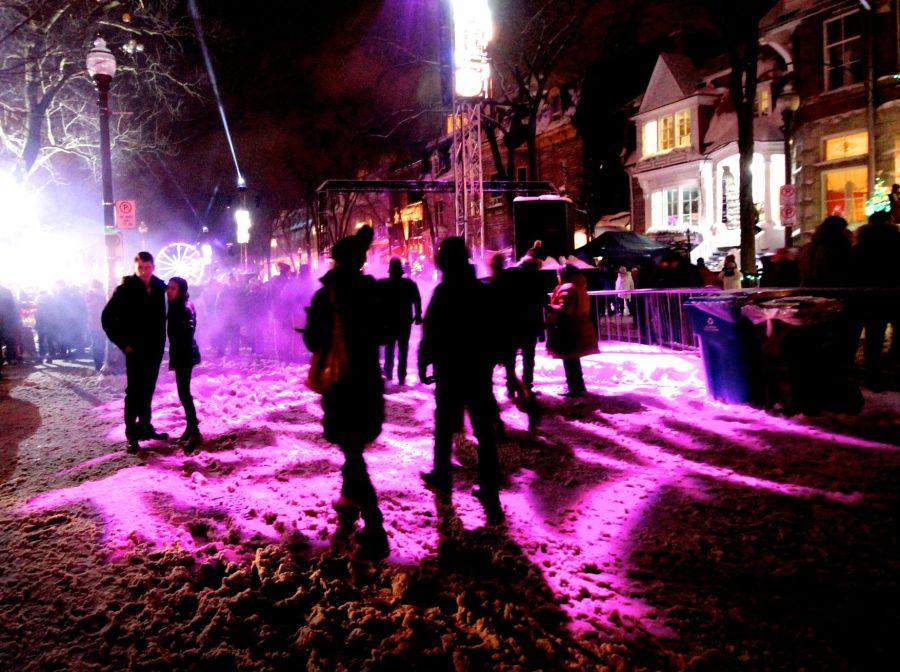 quebec city new years celebration december 31 2015 people purple light