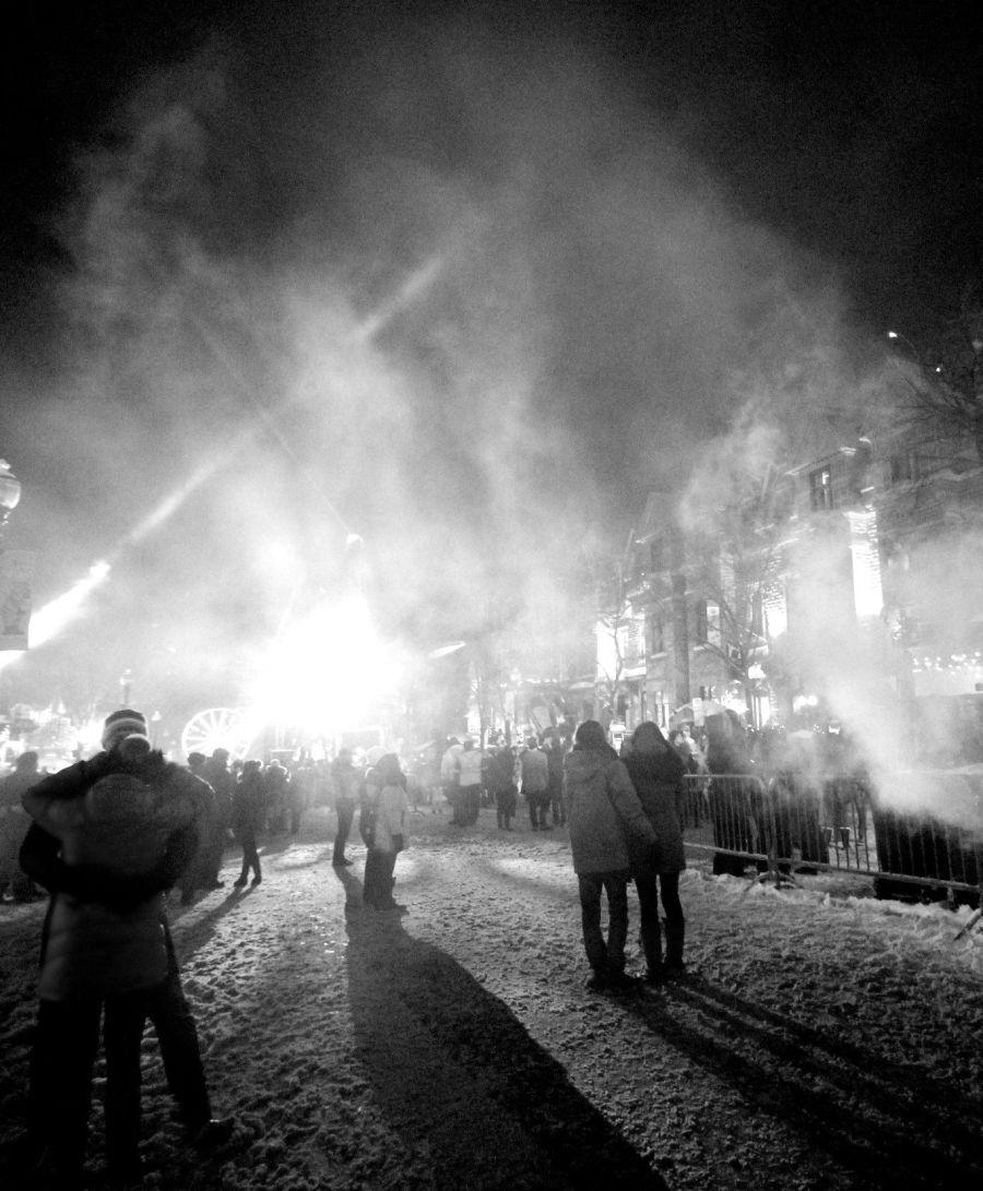 quebec city new years celebration december 31 2015 people smoke