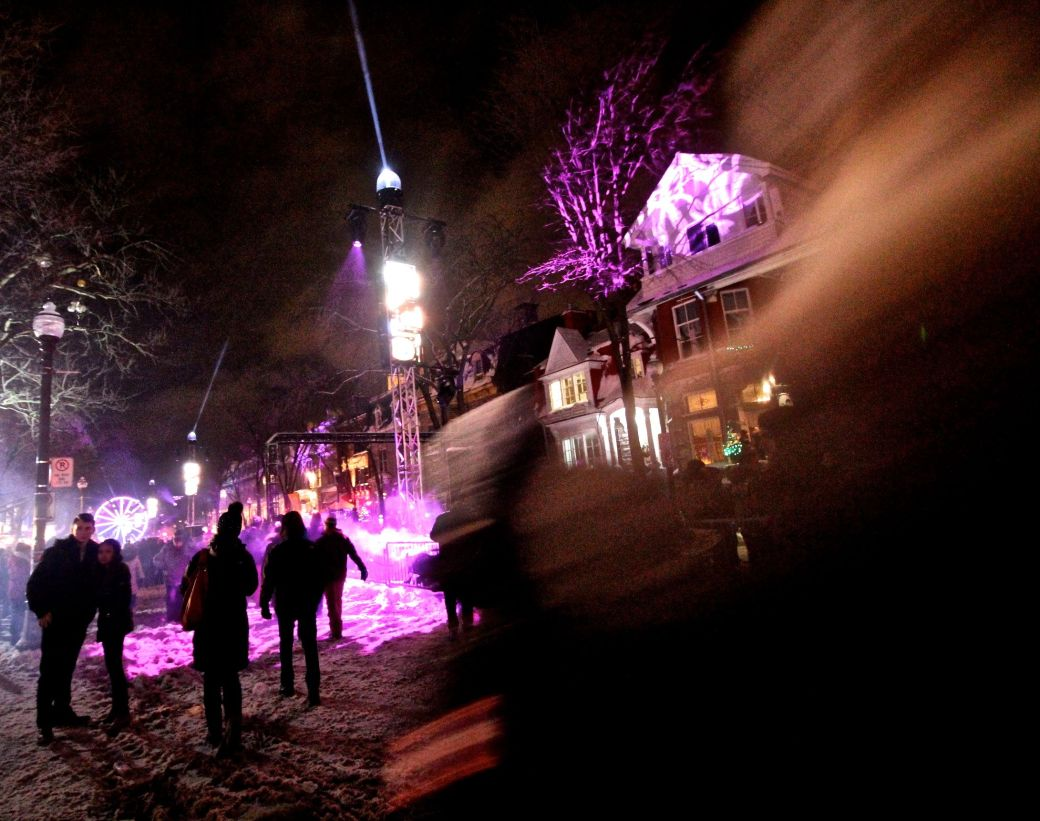 quebec city new years celebration december 31 2015 purple light people 2