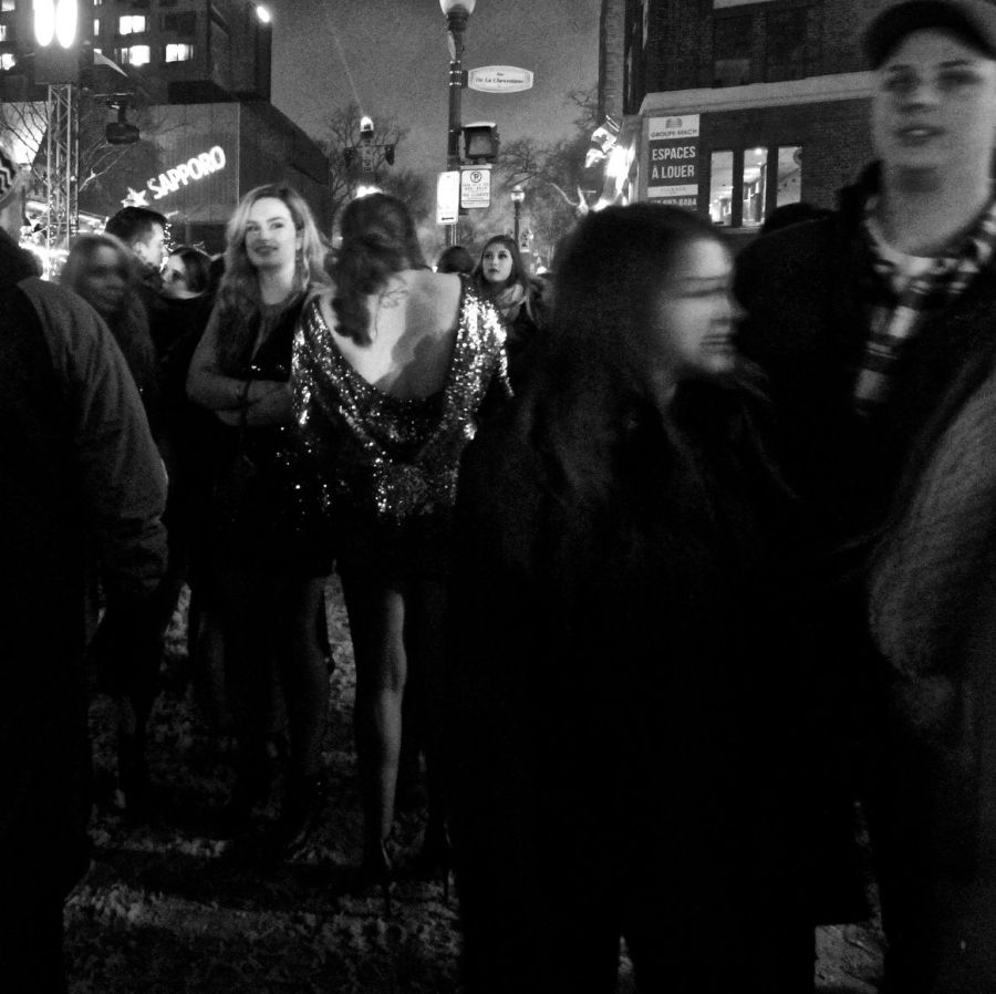 quebec city new years celebration december 31 2015 woman in dress