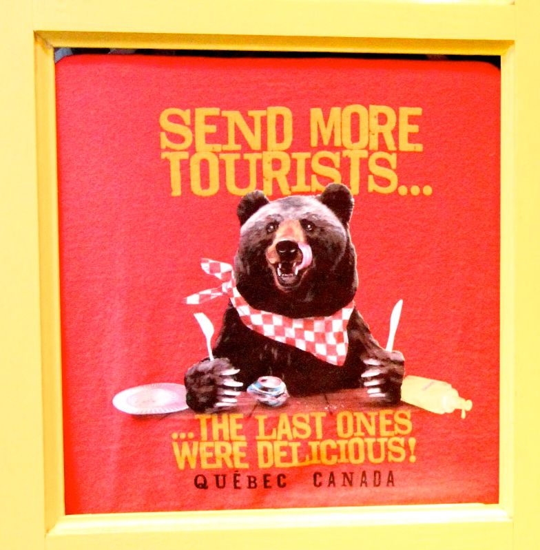 quebec city souvenir t-shirts bear tourists