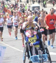 boston marathon april 18 2016 group wheelchair runner
