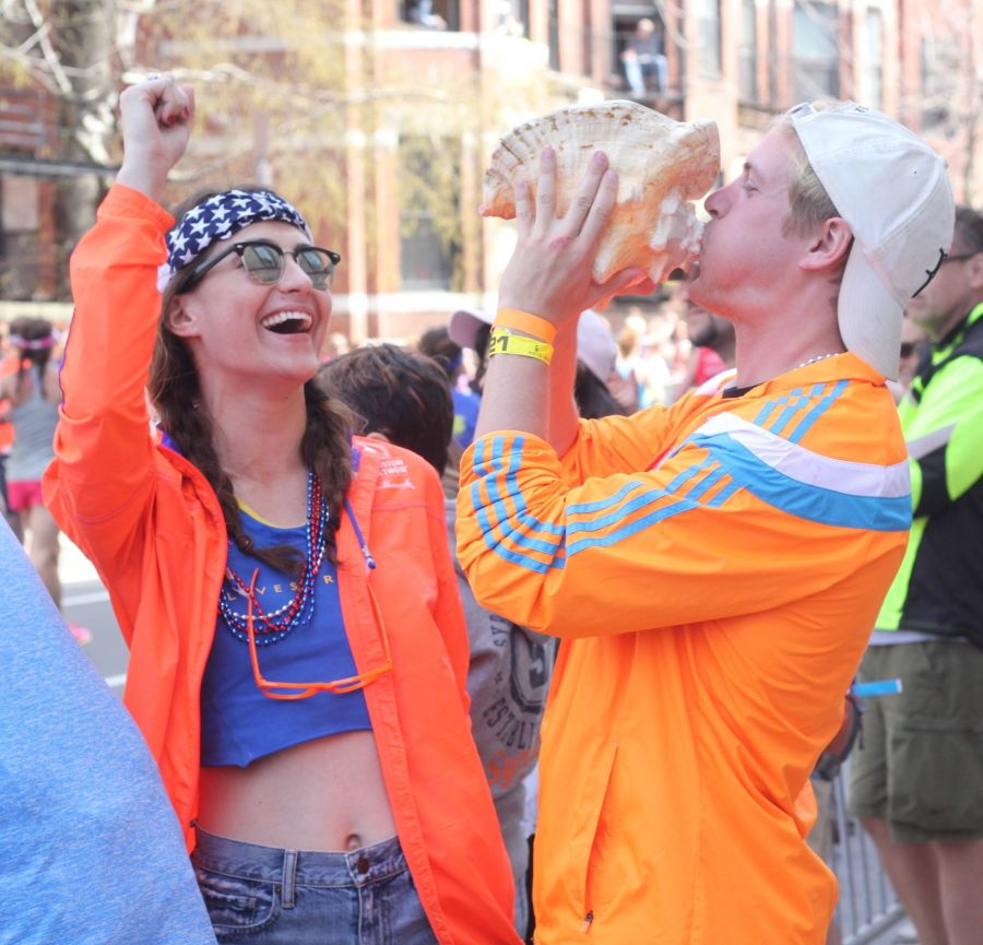 boston marathon april 18 2016 man blowing into conch shell