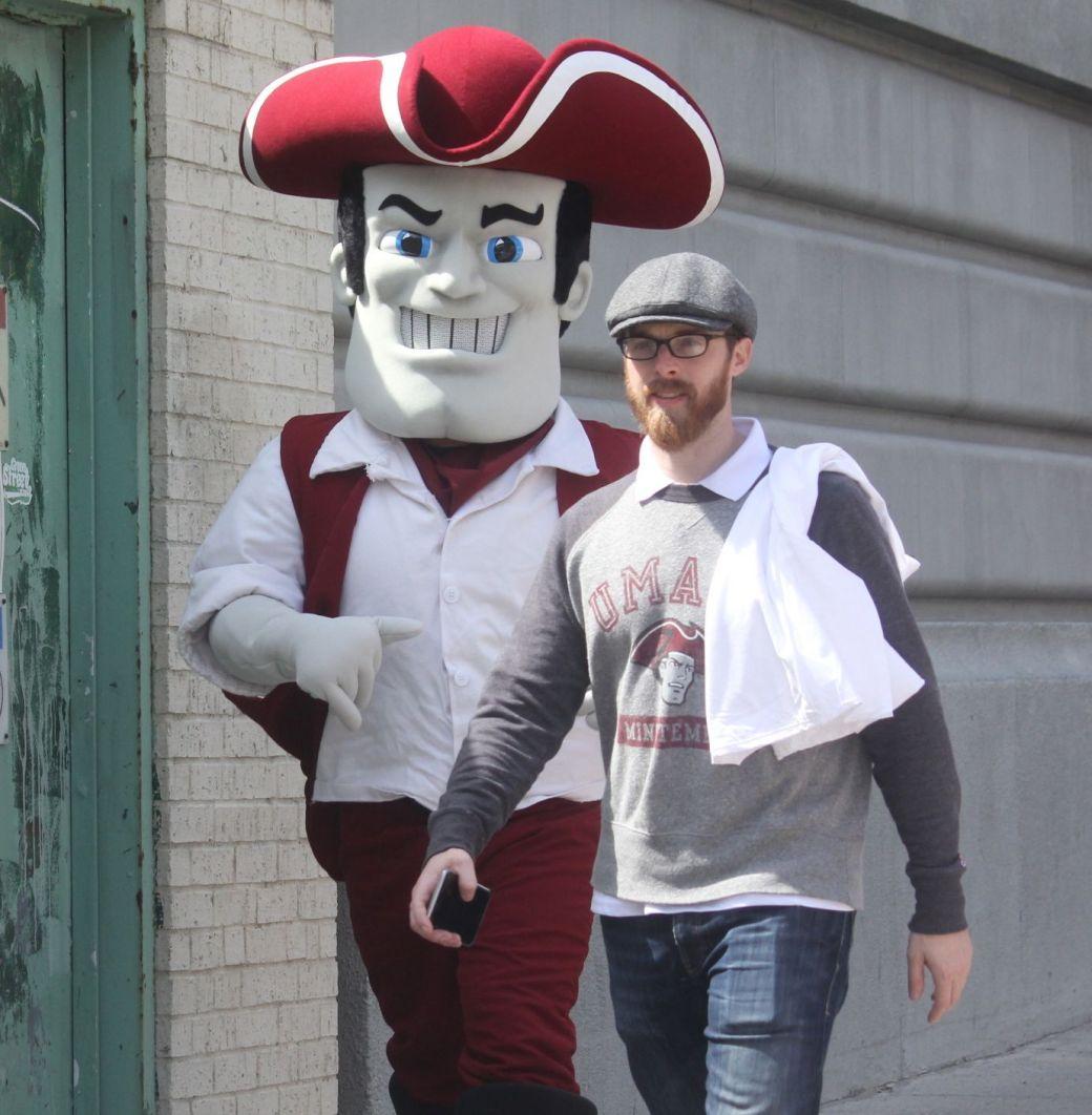 boston marathon april 18 2016 man in UMass costume