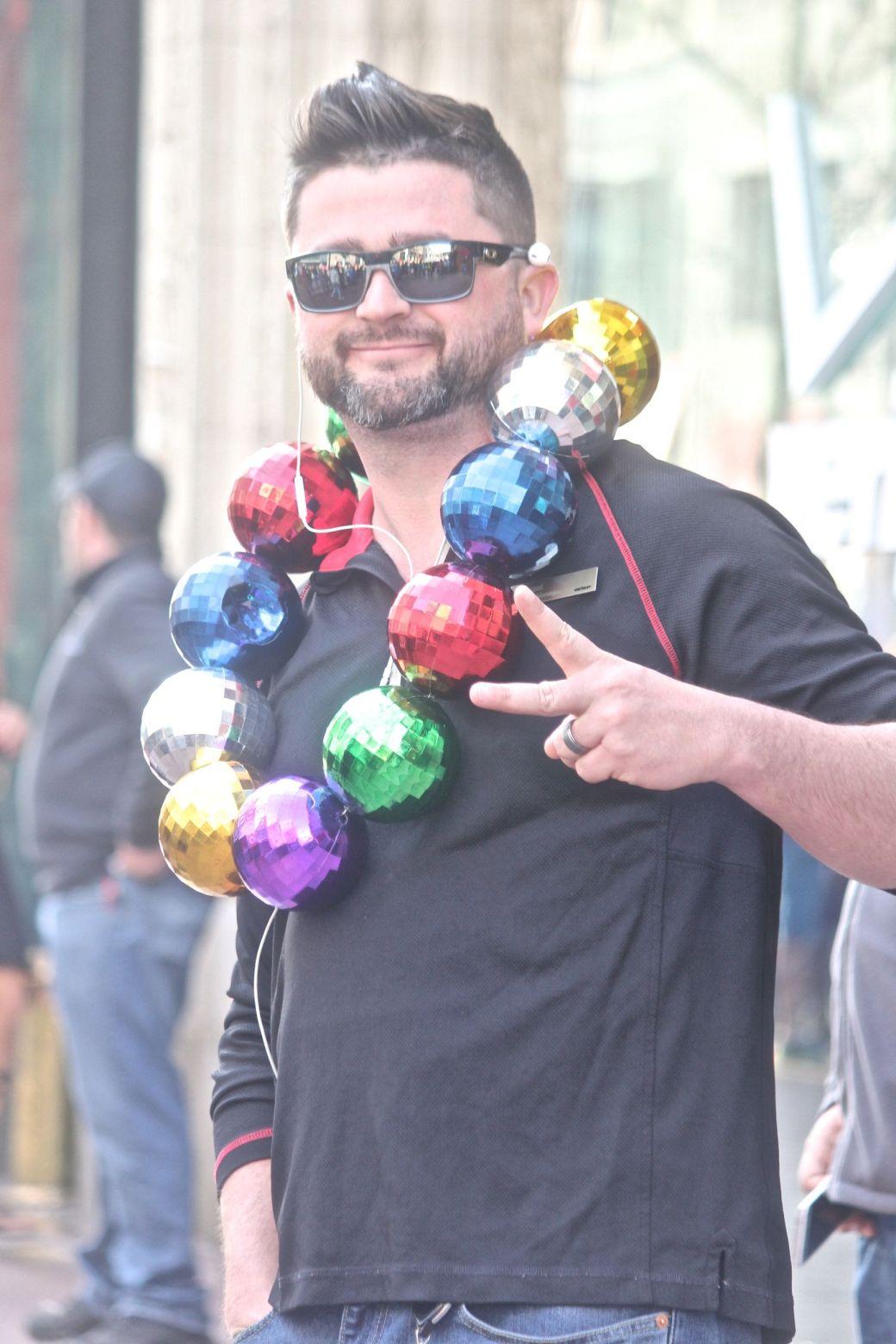 boston marathon april 18 2016 man wearing disco ball necklace