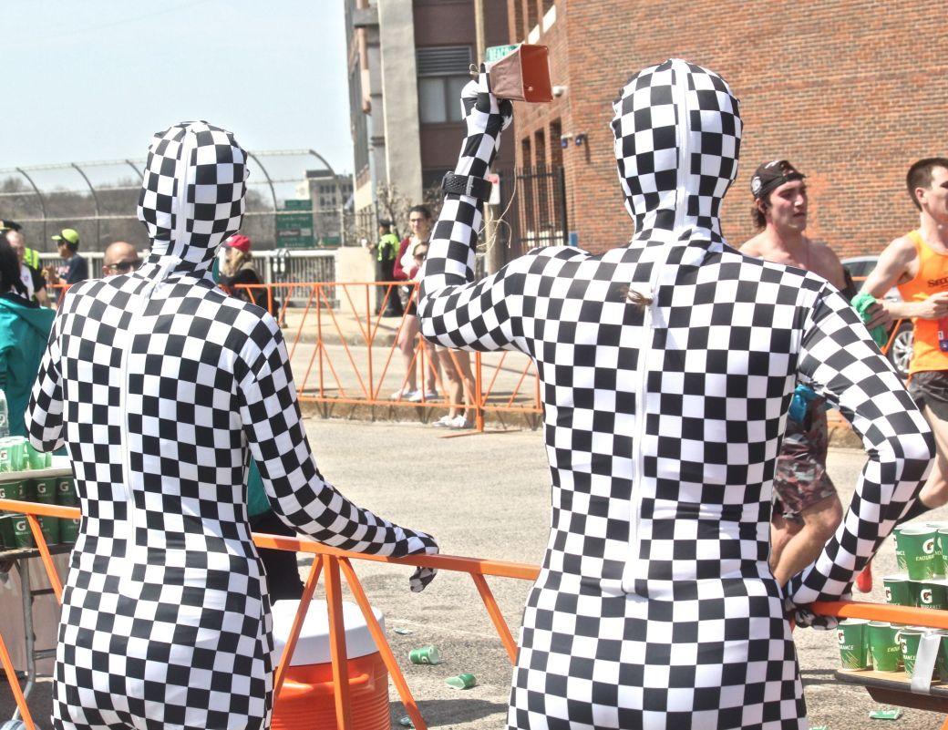 boston marathon april 18 2016 women in checkered outfits