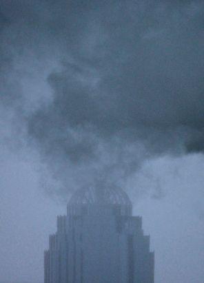 boston back bay building fog steam