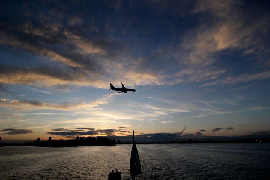 boston boat sunset airplane 2