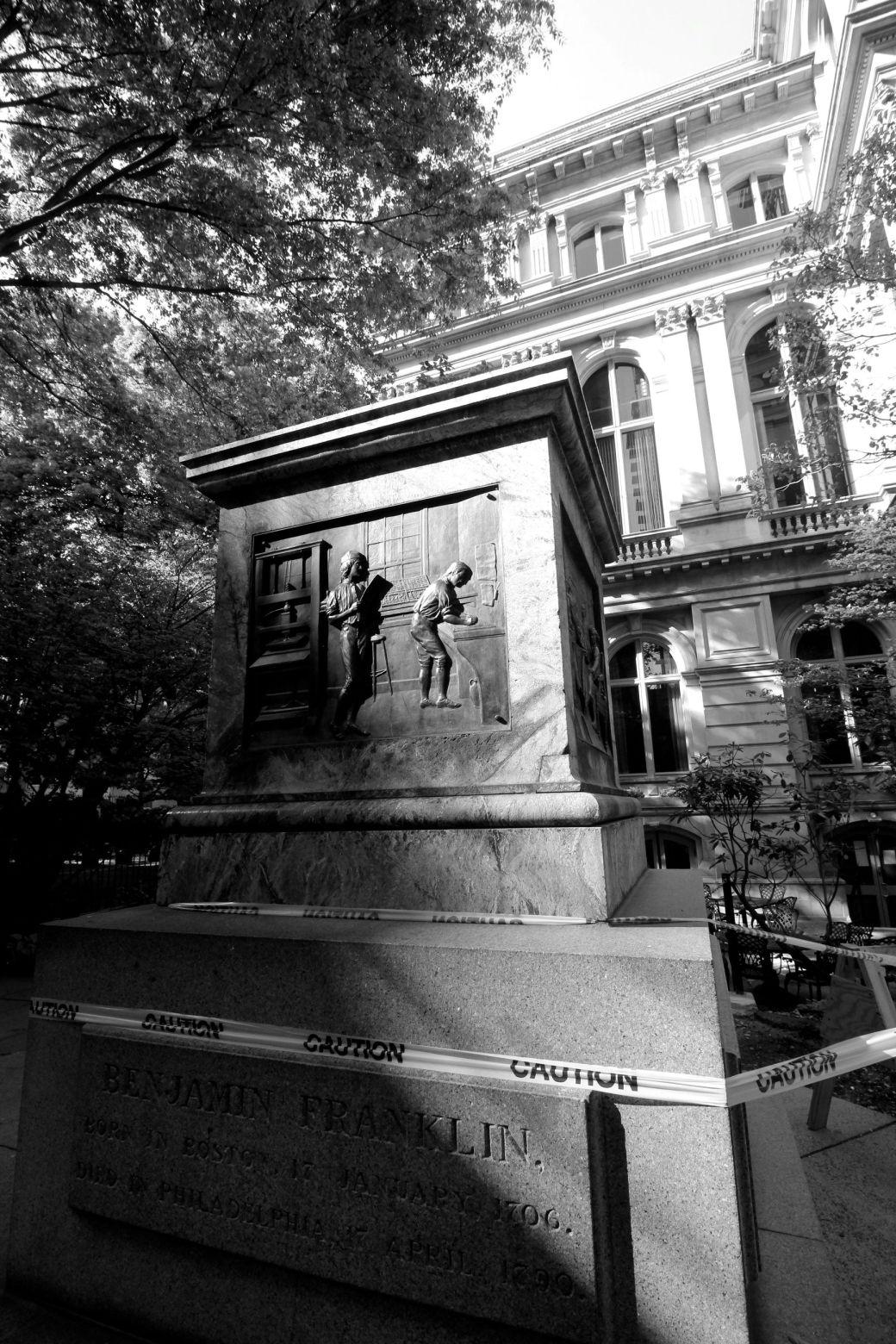 boston downtown crossing missing benjamin franklin statue