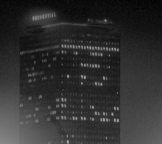 boston prudential building fog night time
