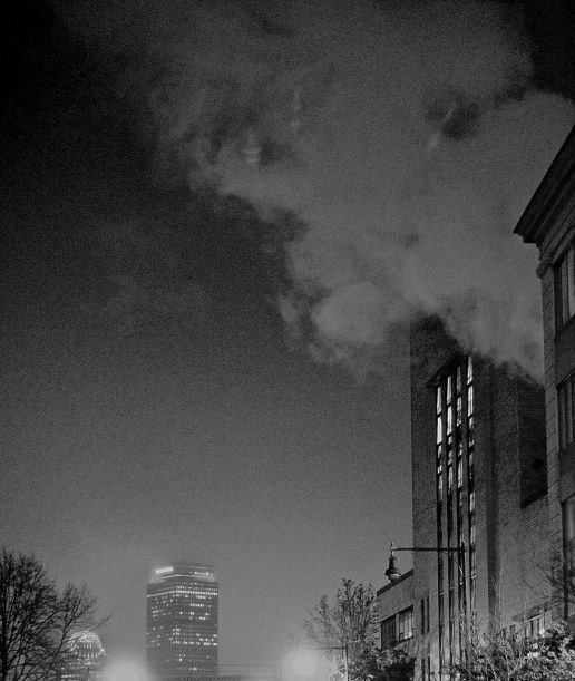 boston prudential center night fog steam