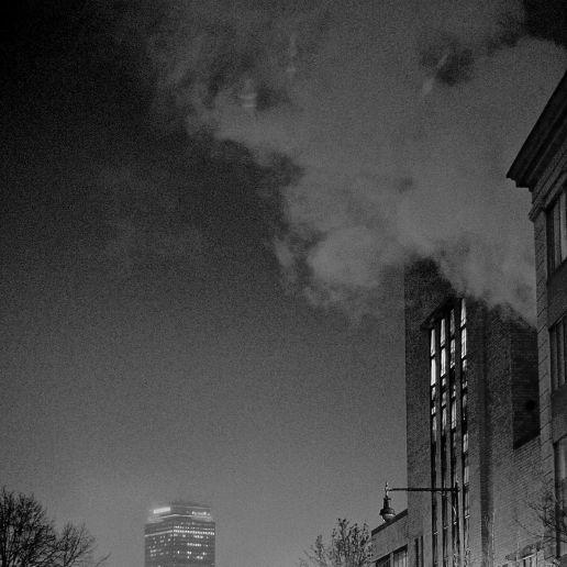 boston prudential center night fog steam