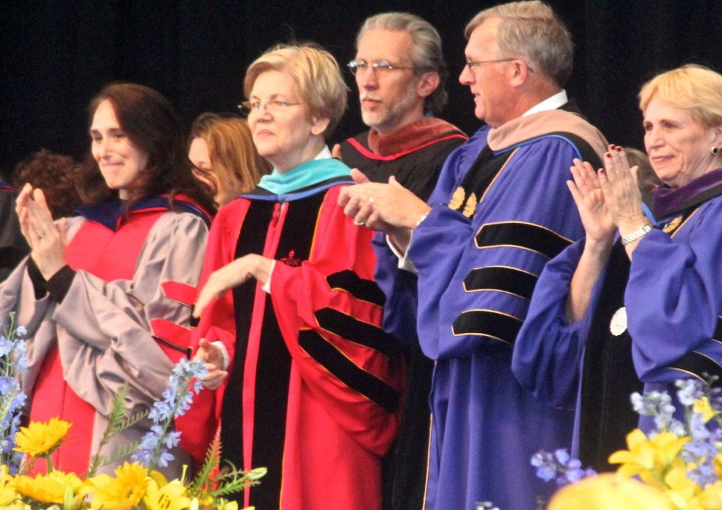 boston suffolk university graduation elizabeth warren 2