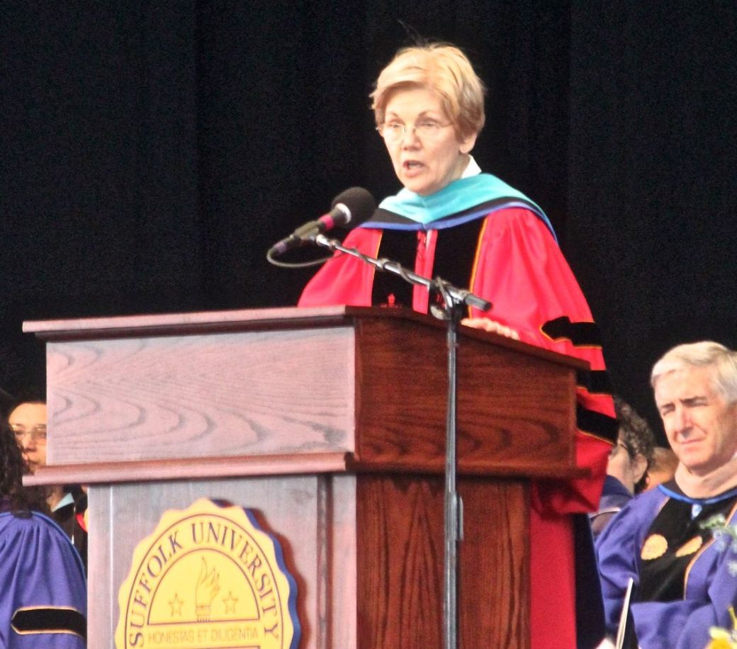 boston suffolk university graduation elizabeth warren