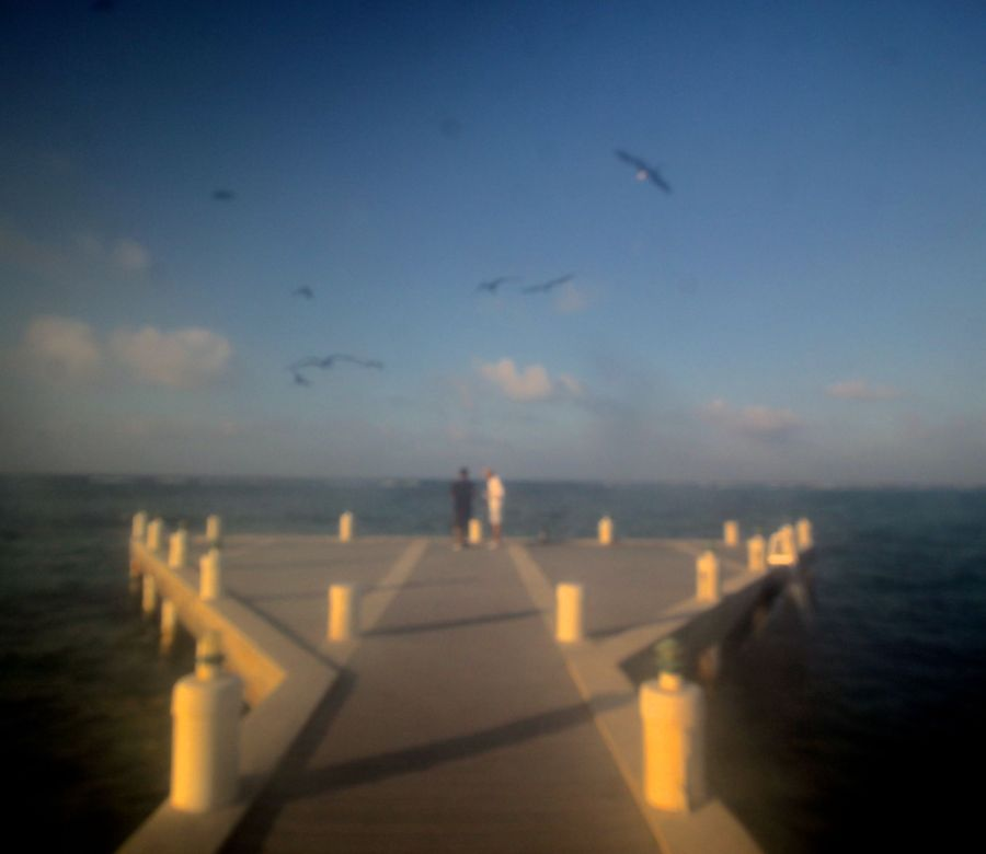 cayman islands reef resort dock out of focus