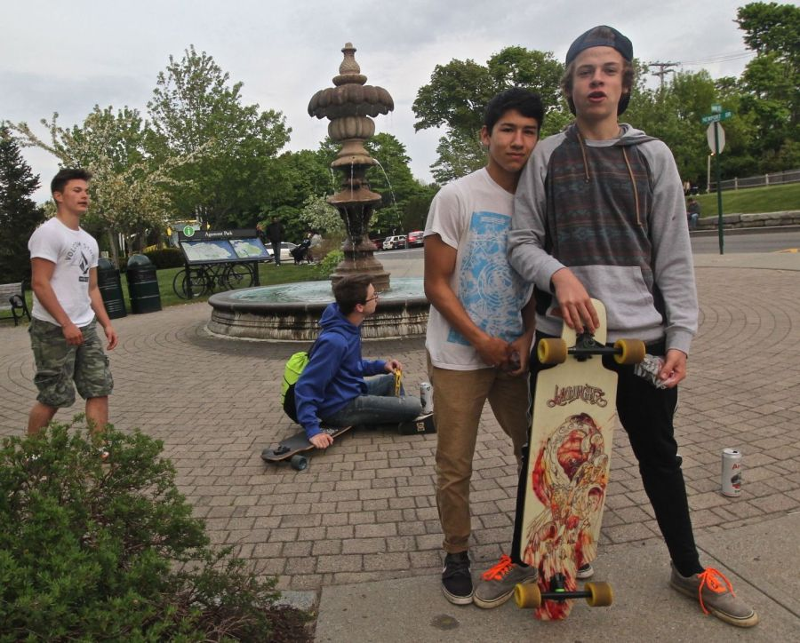 maine mount desert island bar harbor kids with skateboard