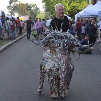 cambridge river festival man with elephant statue