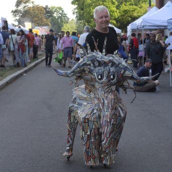 cambridge river festival man with elephant statue