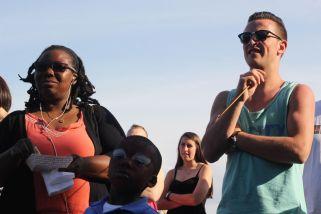 cambridge riverfest people watching street performer