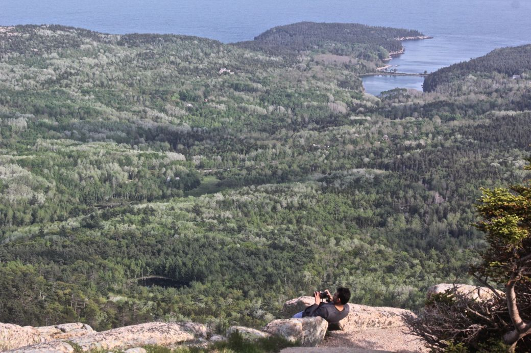 maine mount desert island cadillac mountain view bay man taking photo